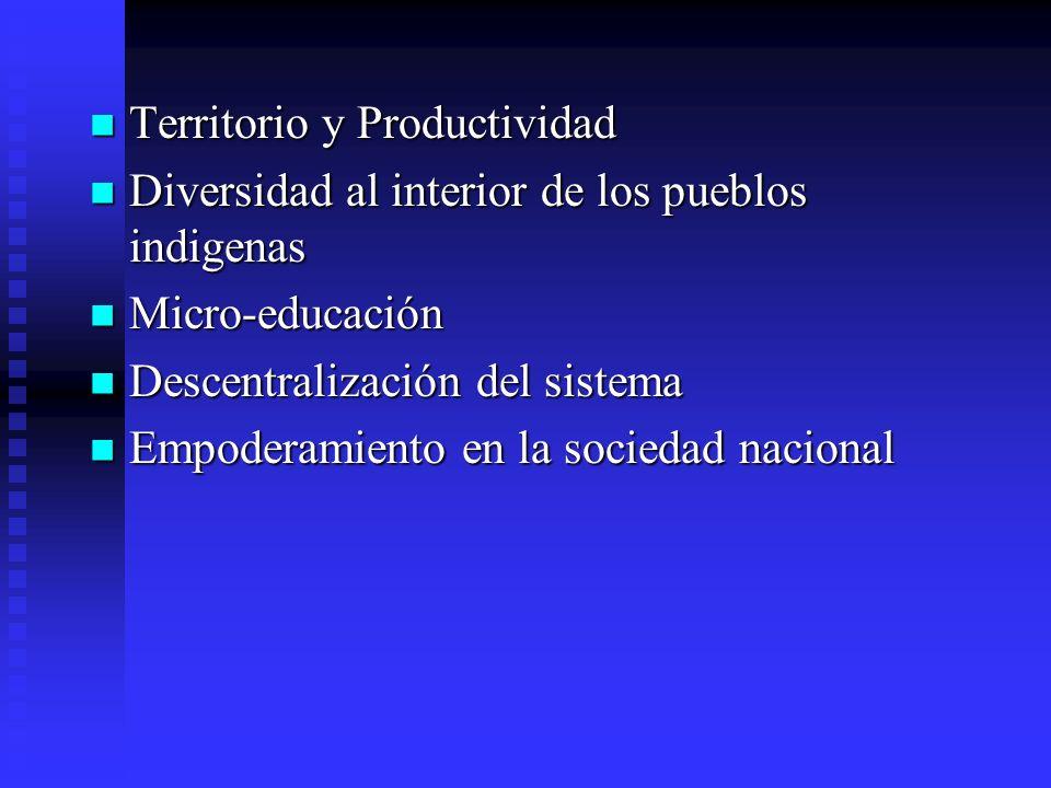 Territorio y Productividad Territorio y Productividad Diversidad al interior de los pueblos indigenas Diversidad al interior de los pueblos indigenas