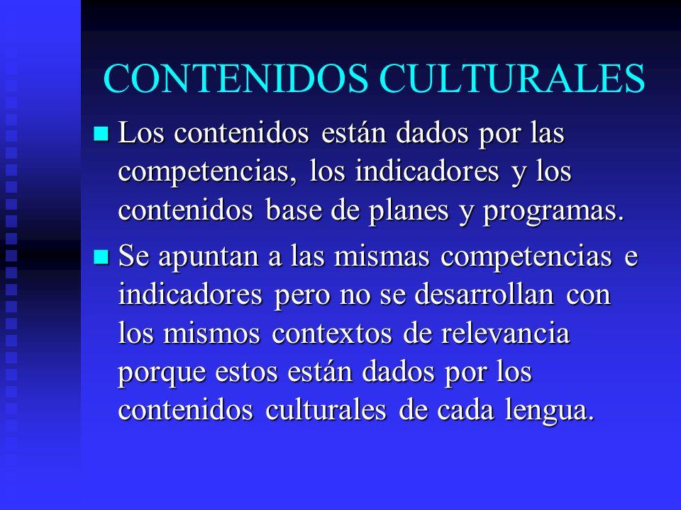 CONTENIDOS CULTURALES Los contenidos están dados por las competencias, los indicadores y los contenidos base de planes y programas. Los contenidos est