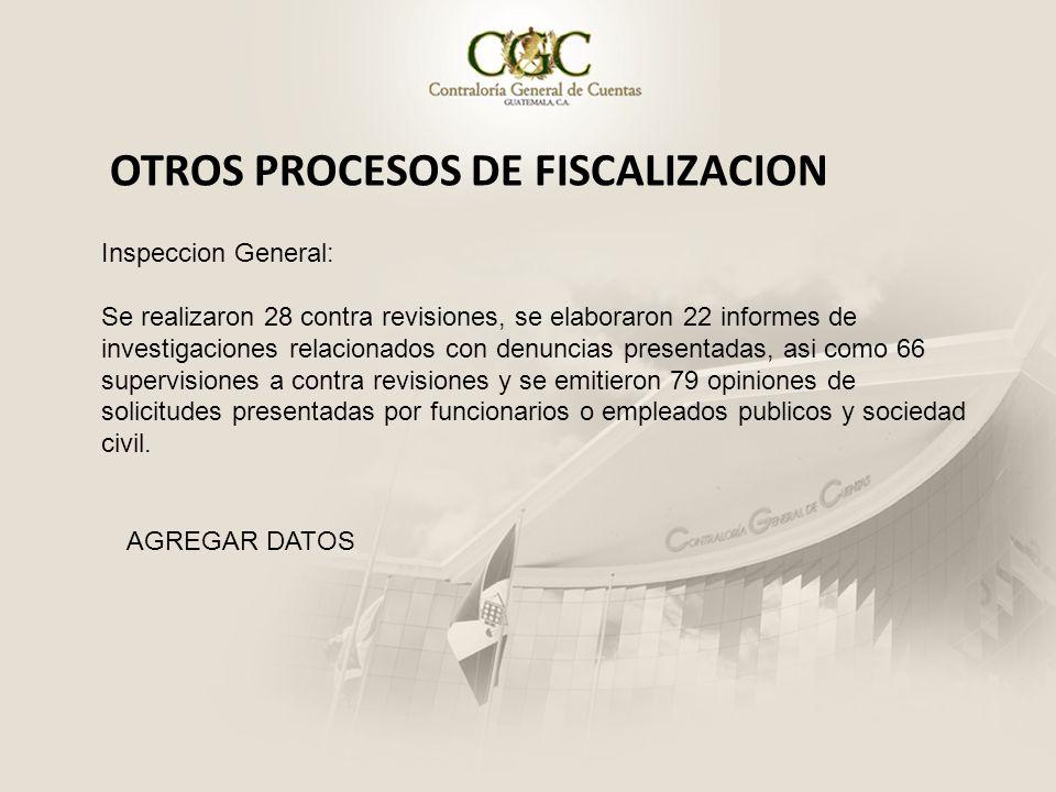 OTROS PROCESOS DE FISCALIZACION Inspeccion General: Se realizaron 28 contra revisiones, se elaboraron 22 informes de investigaciones relacionados con