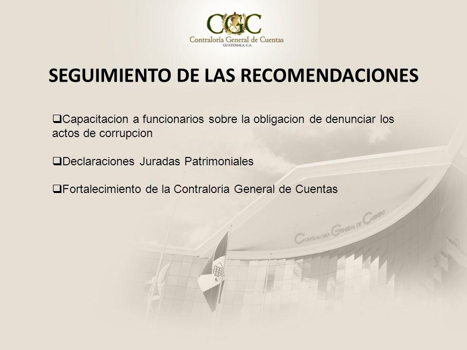 SEGUIMIENTO DE LAS RECOMENDACIONES Capacitacion a funcionarios sobre la obligacion de denunciar los actos de corrupcion Declaraciones Juradas Patrimon