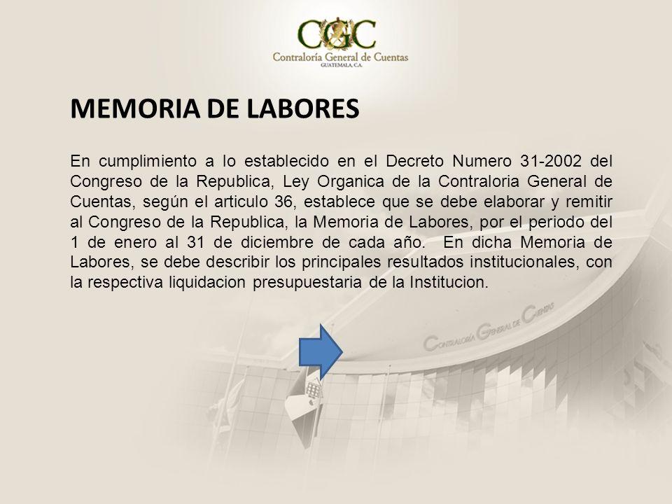 MEMORIA DE LABORES En cumplimiento a lo establecido en el Decreto Numero 31-2002 del Congreso de la Republica, Ley Organica de la Contraloria General