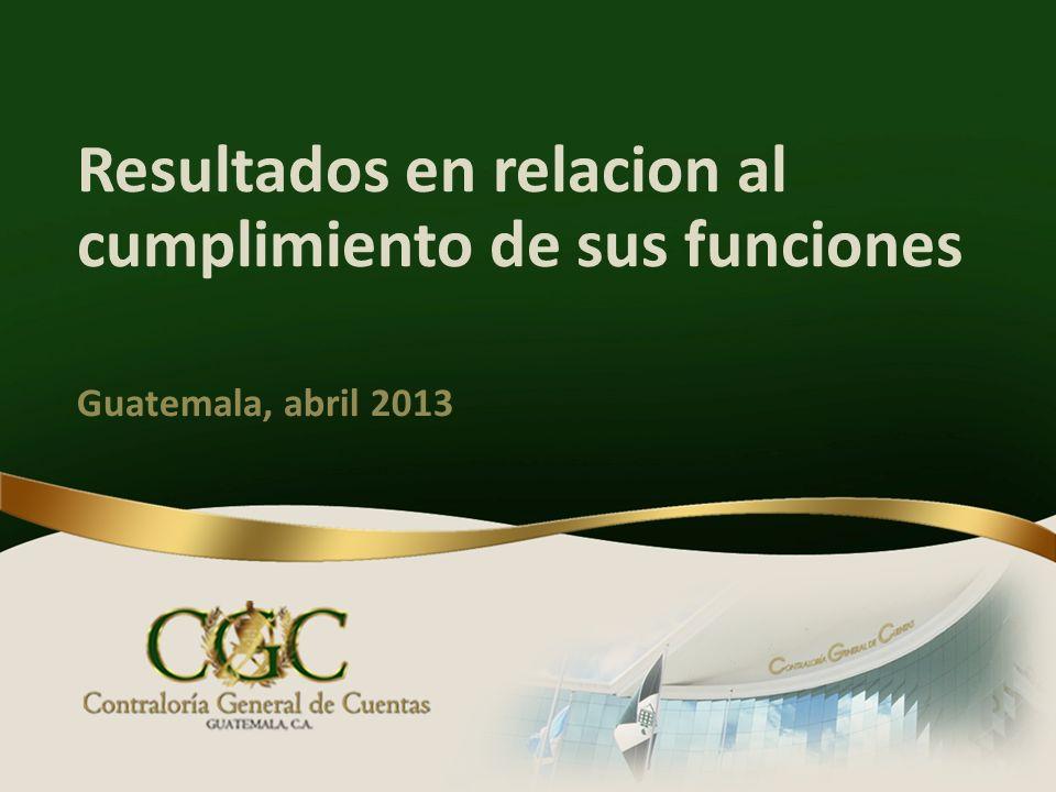 Resultados en relacion al cumplimiento de sus funciones Guatemala, abril 2013