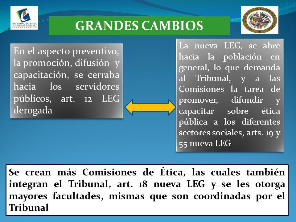 GRANDES CAMBIOS En el aspecto preventivo, la promoción, difusión y capacitación, se cerraba hacia los servidores públicos, art. 12 LEG derogada La nue