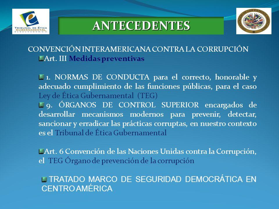 ANTECEDENTES CONVENCIÓN INTERAMERICANA CONTRA LA CORRUPCIÓN Art. III Medidas preventivas 1. NORMAS DE CONDUCTA para el correcto, honorable y adecuado
