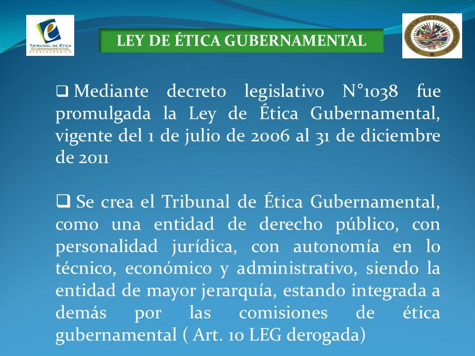 LEY DE ÉTICA GUBERNAMENTAL Mediante decreto legislativo N°1038 fue promulgada la Ley de Ética Gubernamental, vigente del 1 de julio de 2006 al 31 de d