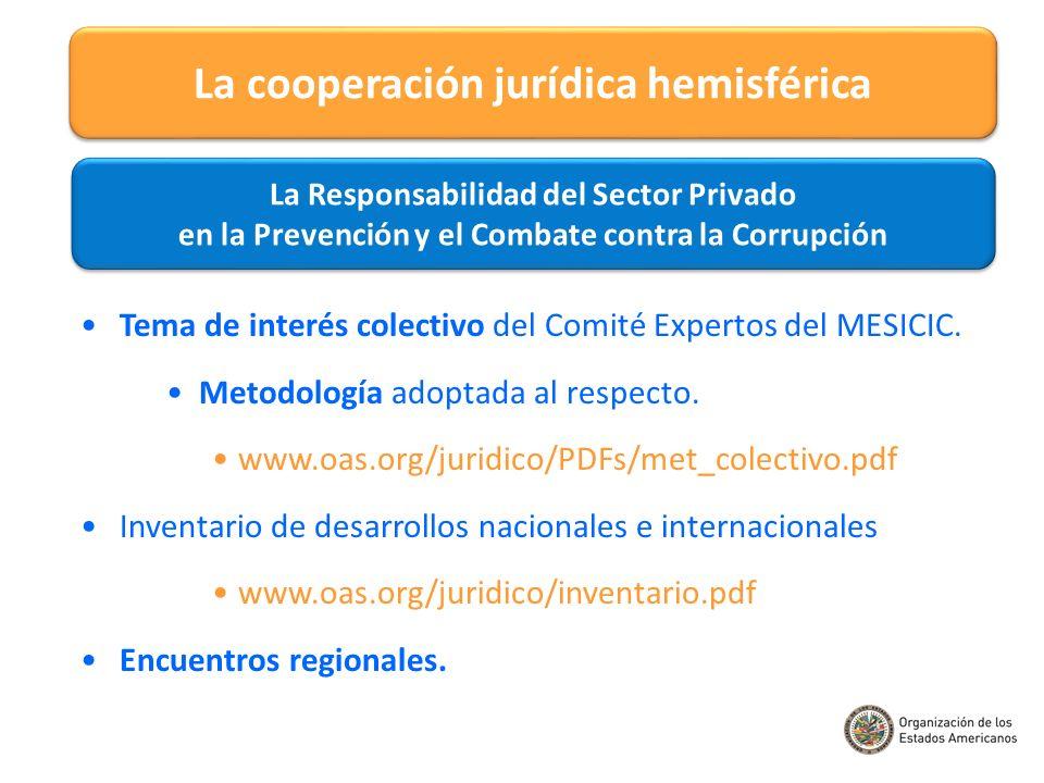 Tema de interés colectivo del Comité Expertos del MESICIC. Metodología adoptada al respecto. www.oas.org/juridico/PDFs/met_colectivo.pdf Inventario de