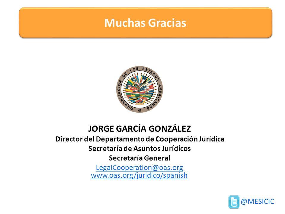 JORGE GARCÍA GONZÁLEZ Director del Departamento de Cooperación Jurídica Secretaría de Asuntos Jurídicos Secretaría General LegalCooperation@oas.org Mu