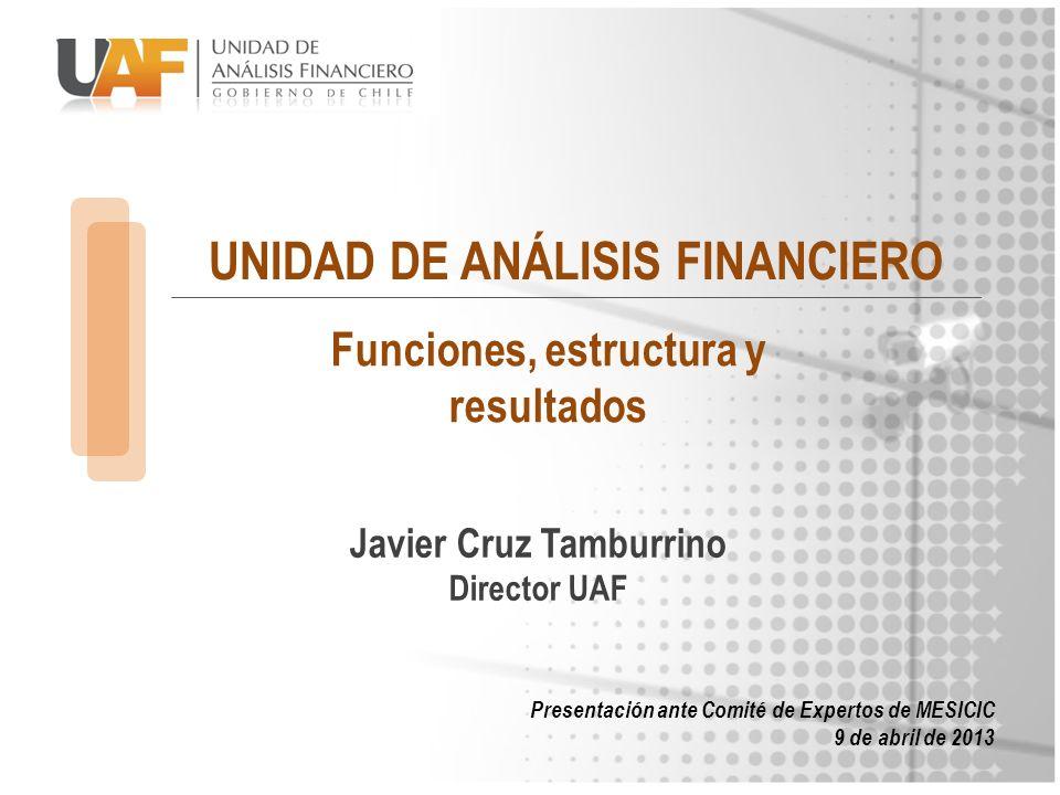 UNIDAD DE ANÁLISIS FINANCIERO Javier Cruz Tamburrino Director UAF Presentación ante Comité de Expertos de MESICIC 9 de abril de 2013 Funciones, estruc