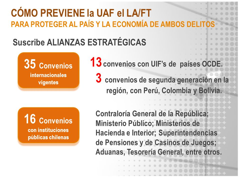 CÓMO PREVIENE la UAF el LA/FT Suscribe ALIANZAS ESTRATÉGICAS 35 Convenios internacionales vigentes 13 convenios con UIFs de países OCDE. 3 convenios d
