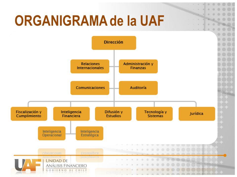 CADENA de responsabilidades Sistema Nacional anti LA/FT CÓMO CUMPLE SU ROL LA UAF UAF 36 SECTORES ECONÓMICOS REGULADOS Otros ORGANISMOS PÚBLICOS SUPERVISORES PREVENCIÓNPERSECUCIÓNSANCIÓN DETECCIÓN DE INDICIOS DE LA/FT INVESTIGACIÓN DE DELITOS LA/FT CONDENAS MINISTERIO PÚBLICO POLICÍAS TRIBUNALES DE JUSTICIA