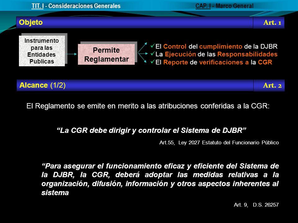 Objeto Permite Reglamentar El Reglamento se emite en merito a las atribuciones conferidas a la CGR: La CGR debe dirigir y controlar el Sistema de DJBR