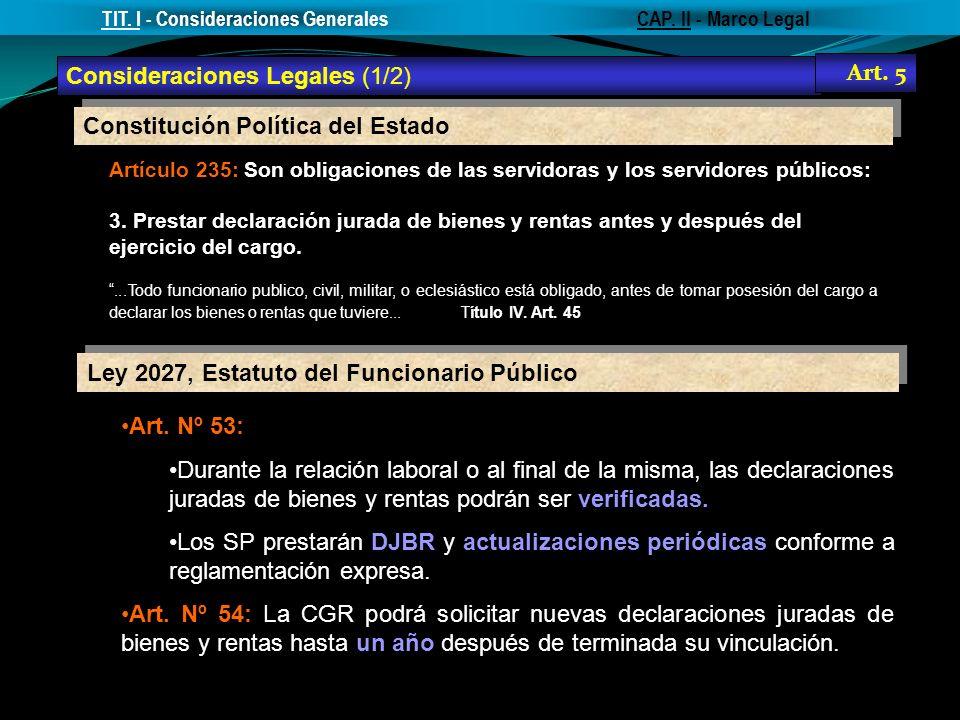 Constitución Política del Estado Artículo 235: Son obligaciones de las servidoras y los servidores públicos: 3. Prestar declaración jurada de bienes y