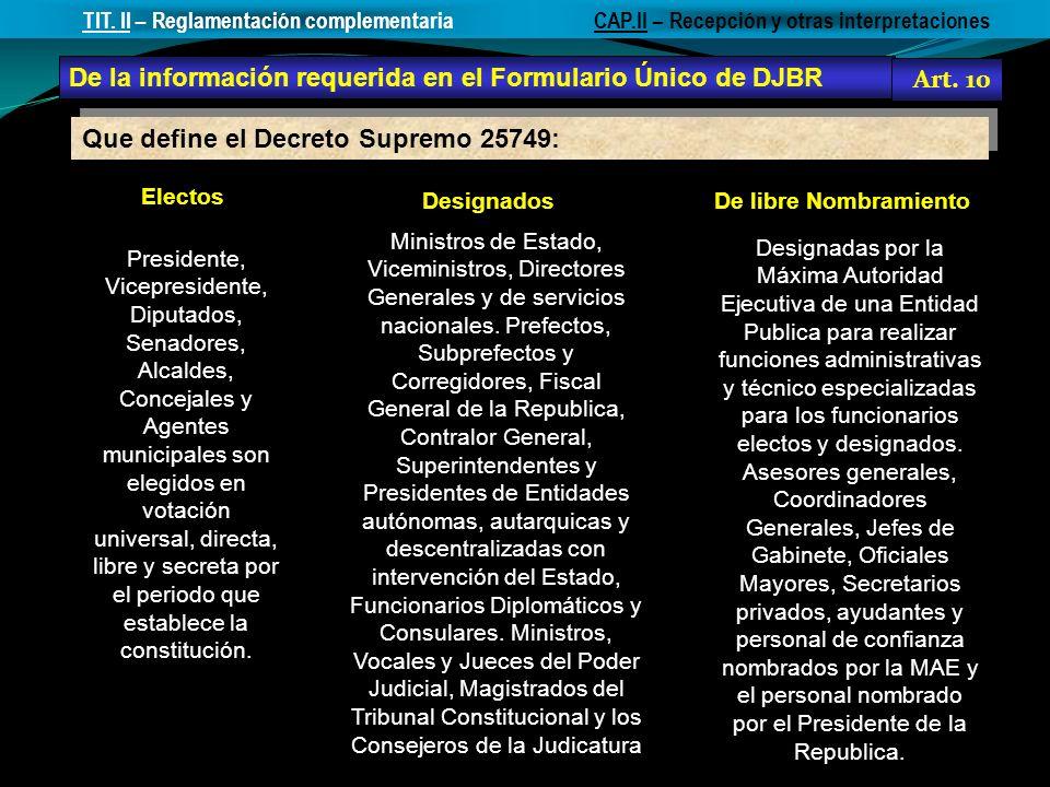 Electos DesignadosDe libre Nombramiento Presidente, Vicepresidente, Diputados, Senadores, Alcaldes, Concejales y Agentes municipales son elegidos en v