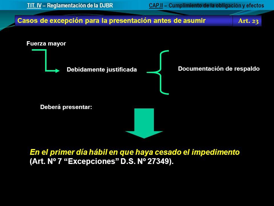 Casos de excepción para la presentación antes de asumir Art. 23 CAP.II – Cumplimiento de la obligación y efectosTIT. IV – Reglamentación de la DJBR En