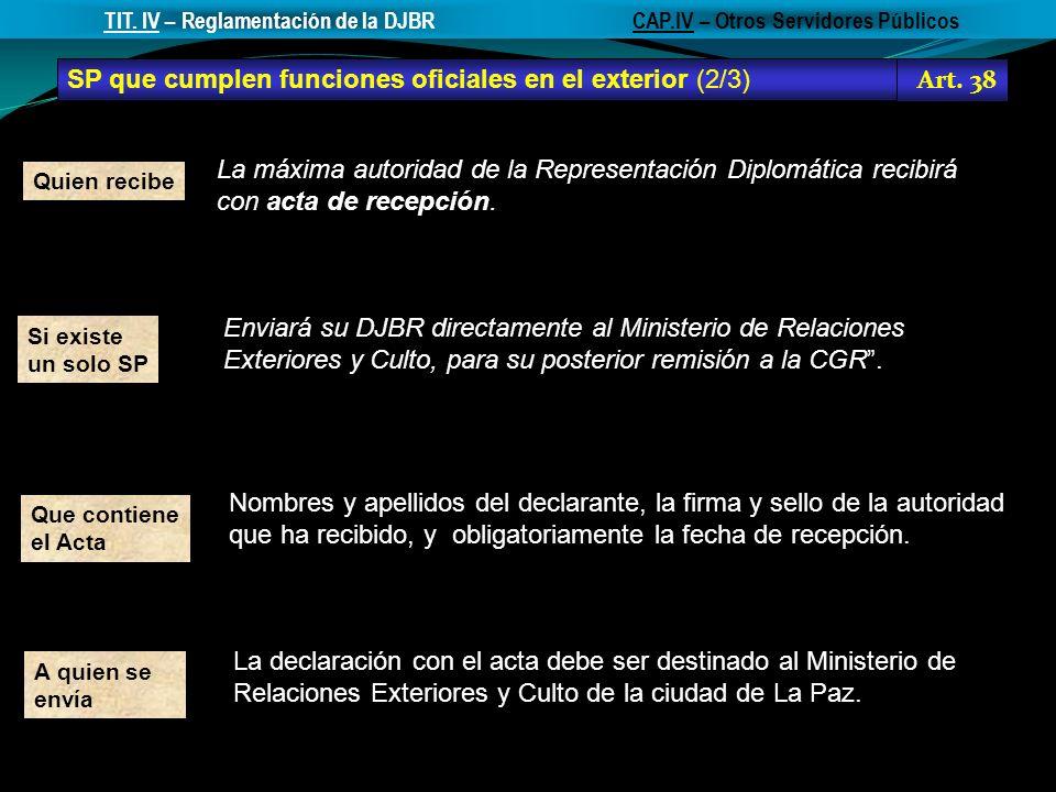 SP que cumplen funciones oficiales en el exterior (2/3) Art. 38 CAP.IV – Otros Servidores PúblicosTIT. IV – Reglamentación de la DJBR La declaración c