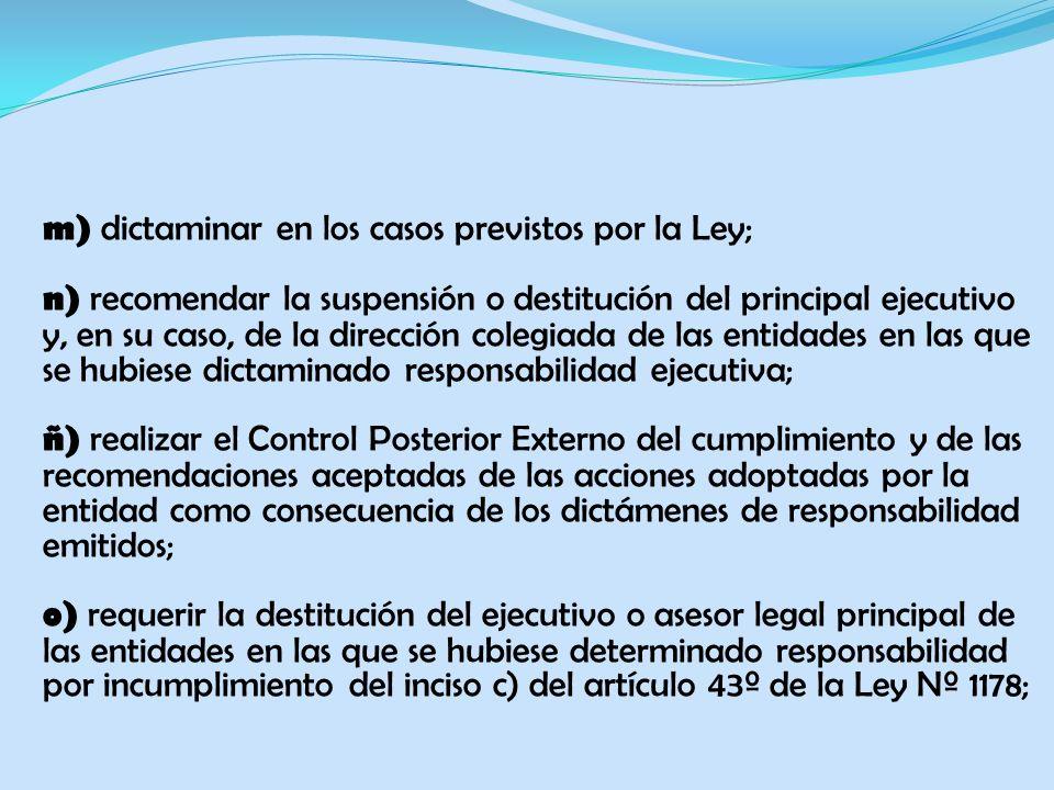 m) dictaminar en los casos previstos por la Ley; n) recomendar la suspensión o destitución del principal ejecutivo y, en su caso, de la dirección cole