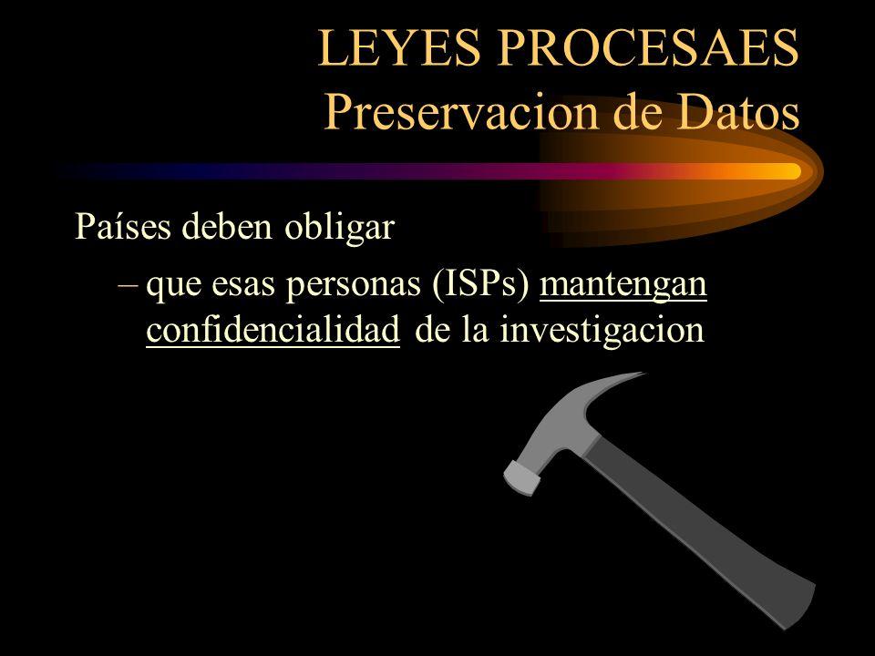 LEYES PROCESALES Preservacion de Datos Las Autoridades Competentes poder ordenar la inmediata preservación de datos cuando hay razón pensar –asistir en una investigación –vulnerable a pérdida o modificación