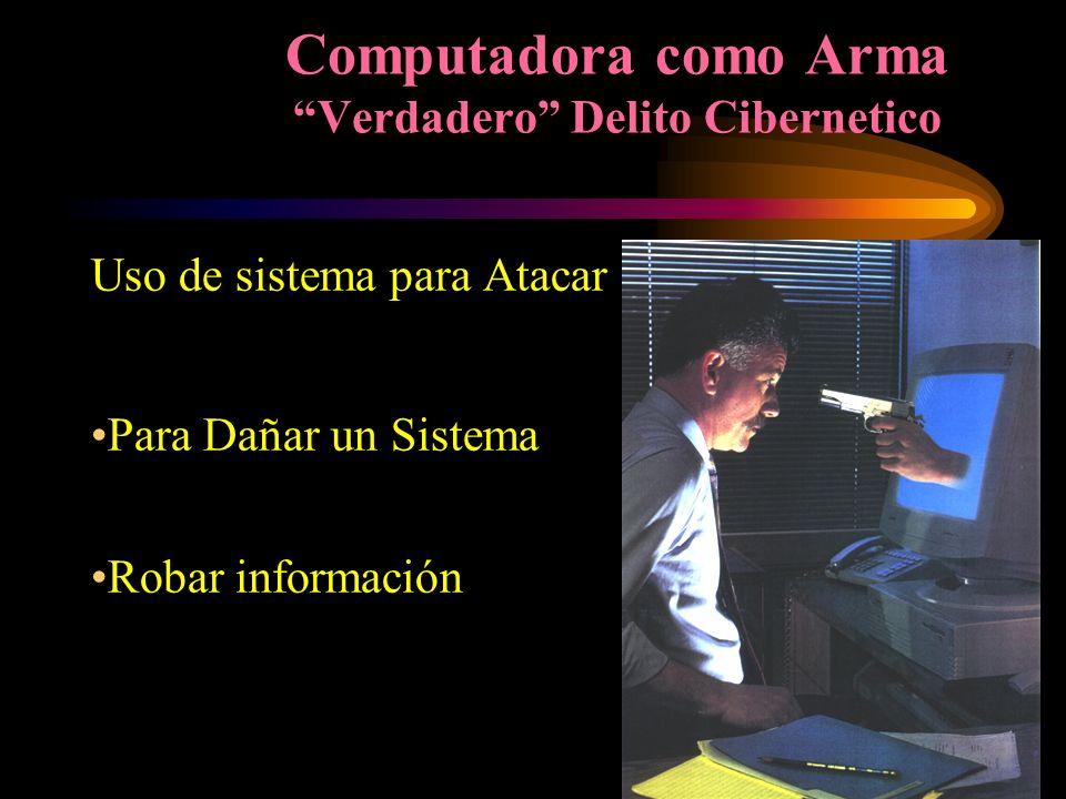 Computadora como Arma Verdadero Delito Cibernetico Uso de sistema para Atacar Para Dañar un Sistema Robar información