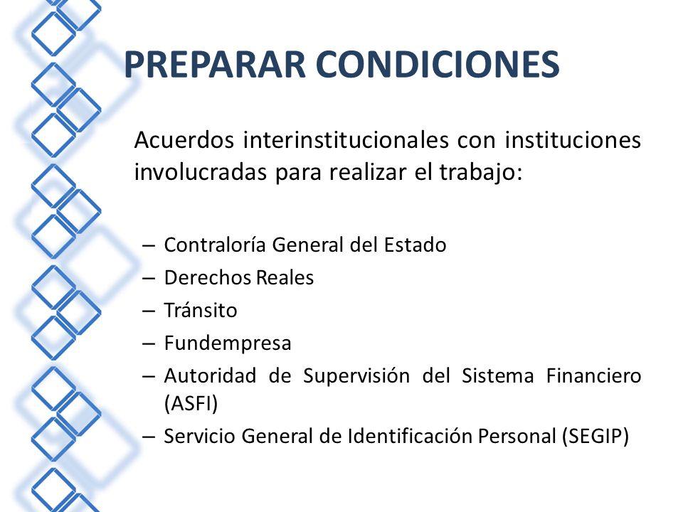 Acuerdos interinstitucionales con instituciones involucradas para realizar el trabajo: – Contraloría General del Estado – Derechos Reales – Tránsito –