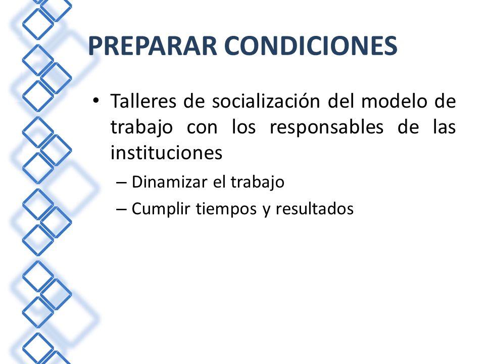 Talleres de socialización del modelo de trabajo con los responsables de las instituciones – Dinamizar el trabajo – Cumplir tiempos y resultados