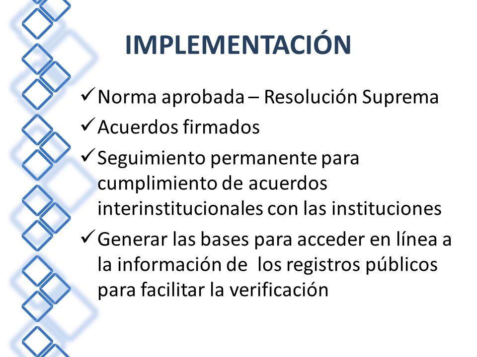 IMPLEMENTACIÓN Norma aprobada – Resolución Suprema Acuerdos firmados Seguimiento permanente para cumplimiento de acuerdos interinstitucionales con las