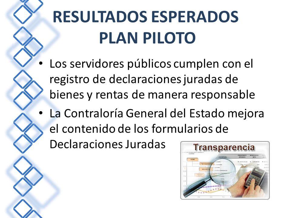 RESULTADOS ESPERADOS PLAN PILOTO Los servidores públicos cumplen con el registro de declaraciones juradas de bienes y rentas de manera responsable La