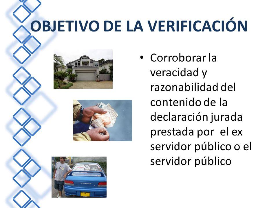 PLAN PILOTO Primera experiencia para verificar el contenido de las declaraciones juradas de ex servidores públicos y servidores públicos.