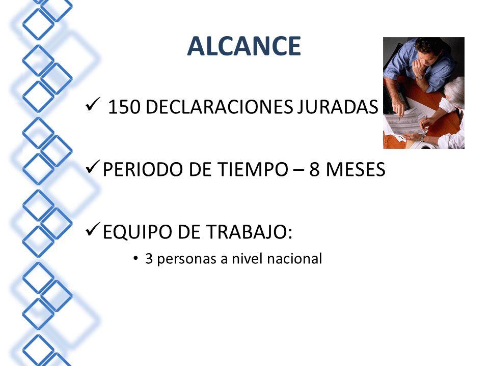 ALCANCE 150 DECLARACIONES JURADAS PERIODO DE TIEMPO – 8 MESES EQUIPO DE TRABAJO: 3 personas a nivel nacional