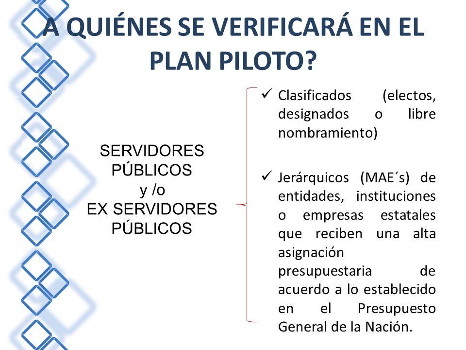 A QUIÉNES SE VERIFICARÁ EN EL PLAN PILOTO.