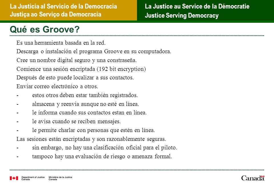 La Justicia al Servicio de la Democracia Justiça ao Serviço da Democracia La Justice au Service de la Démocratie Justice Serving Democracy Qué es Groove.