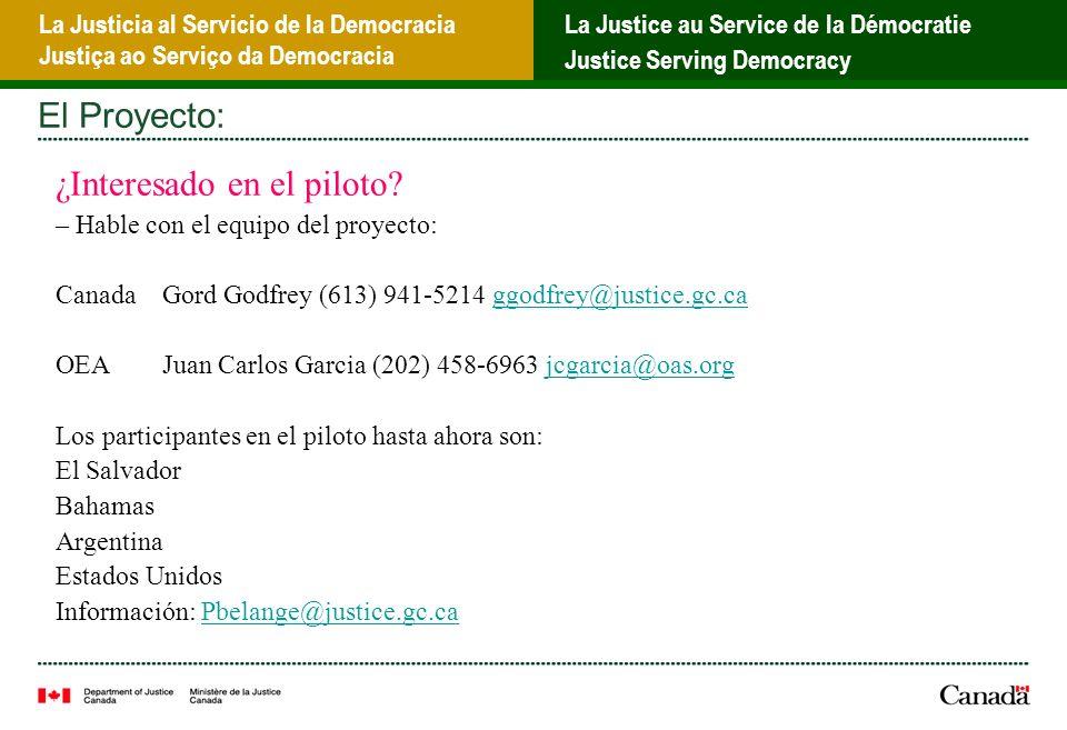 La Justicia al Servicio de la Democracia Justiça ao Serviço da Democracia La Justice au Service de la Démocratie Justice Serving Democracy El Proyecto: ¿Interesado en el piloto.