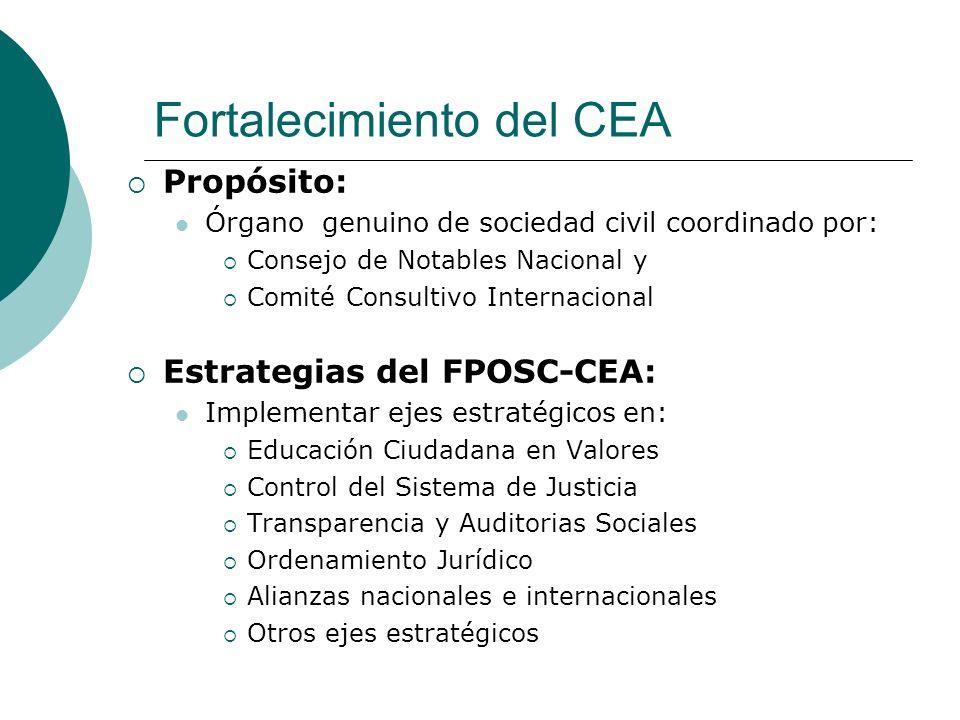 Fortalecimiento del CEA Propósito: Órgano genuino de sociedad civil coordinado por: Consejo de Notables Nacional y Comité Consultivo Internacional Est