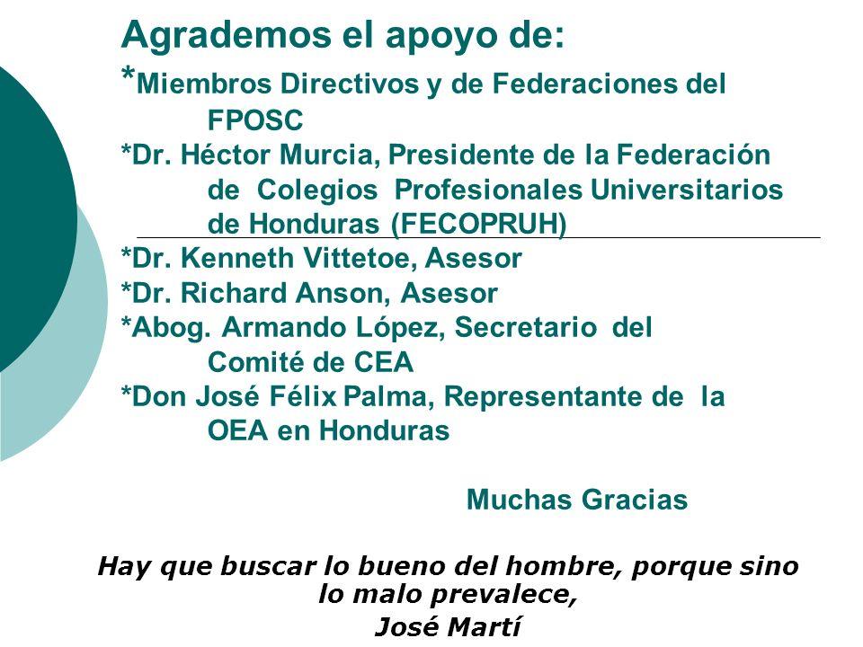 Agrademos el apoyo de: * Miembros Directivos y de Federaciones del FPOSC *Dr. Héctor Murcia, Presidente de la Federación de Colegios Profesionales Uni