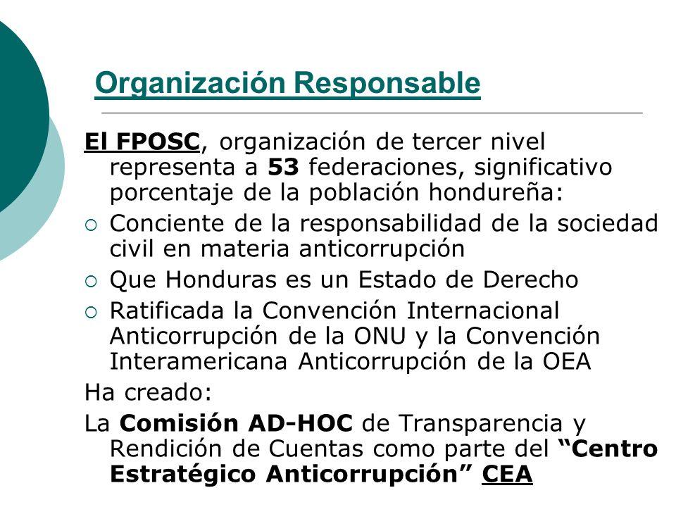 Organización Responsable El FPOSC, organización de tercer nivel representa a 53 federaciones, significativo porcentaje de la población hondureña: Conc