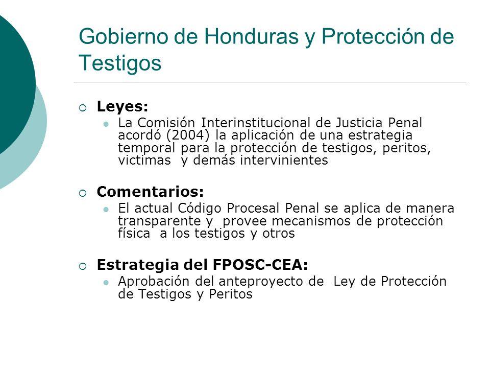 Gobierno de Honduras y Protección de Testigos Leyes: La Comisión Interinstitucional de Justicia Penal acordó (2004) la aplicación de una estrategia te