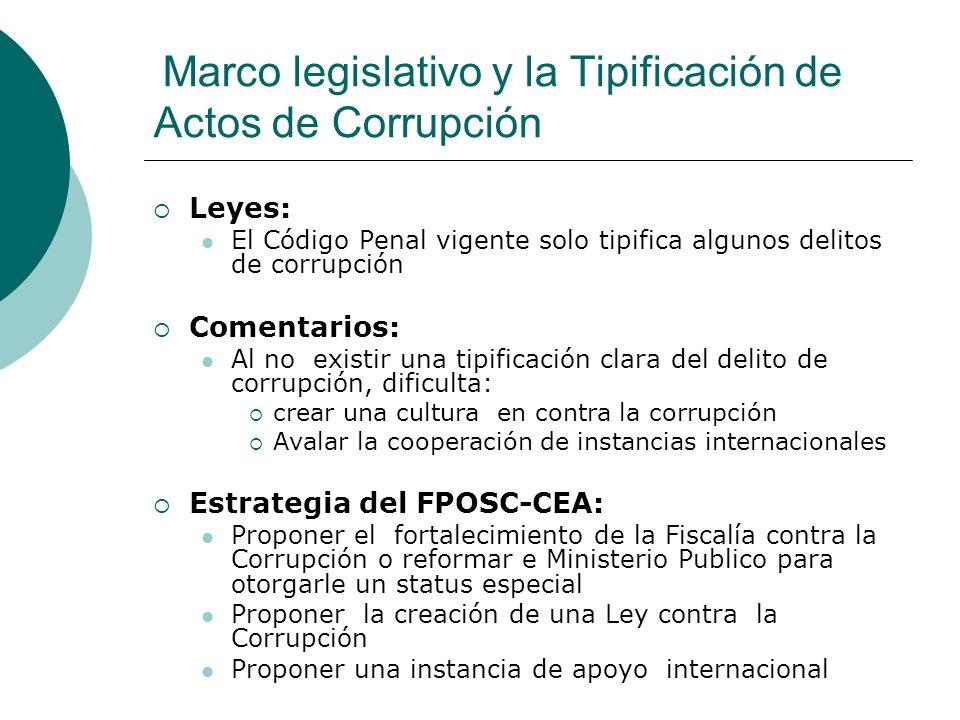 Marco legislativo y la Tipificación de Actos de Corrupción Leyes: El Código Penal vigente solo tipifica algunos delitos de corrupción Comentarios: Al