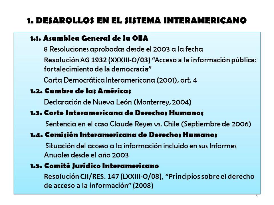 1. DESAROLLOS EN EL SISTEMA INTERAMERICANO 1.1.