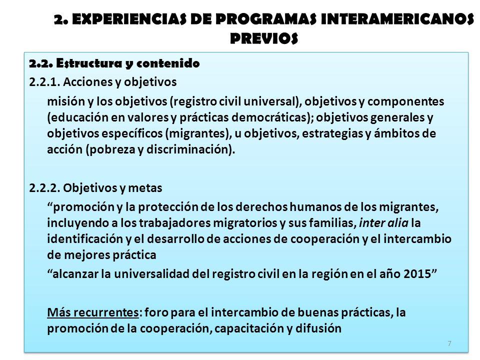 2. EXPERIENCIAS DE PROGRAMAS INTERAMERICANOS PREVIOS 2.2.