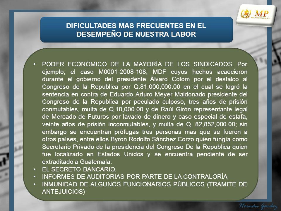 DIFICULTADES MAS FRECUENTES EN EL DESEMPEÑO DE NUESTRA LABOR Hernán Gardez PODER ECONÓMICO DE LA MAYORÍA DE LOS SINDICADOS.