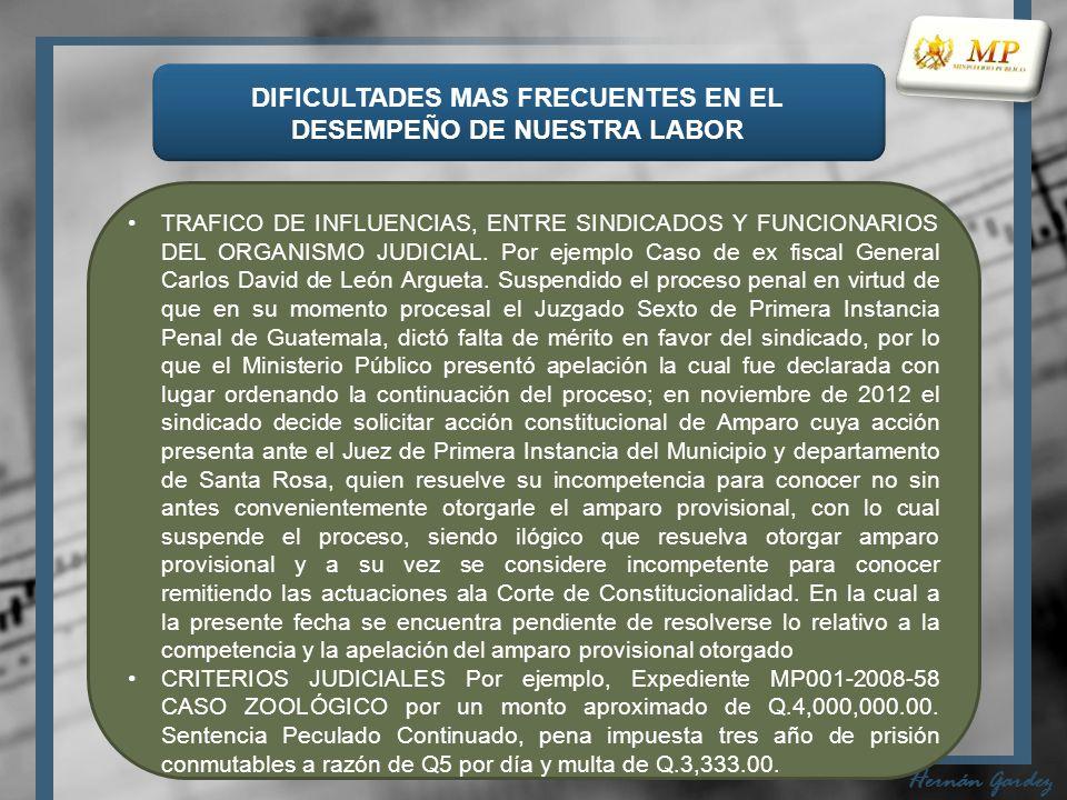 DIFICULTADES MAS FRECUENTES EN EL DESEMPEÑO DE NUESTRA LABOR Hernán Gardez TRAFICO DE INFLUENCIAS, ENTRE SINDICADOS Y FUNCIONARIOS DEL ORGANISMO JUDICIAL.