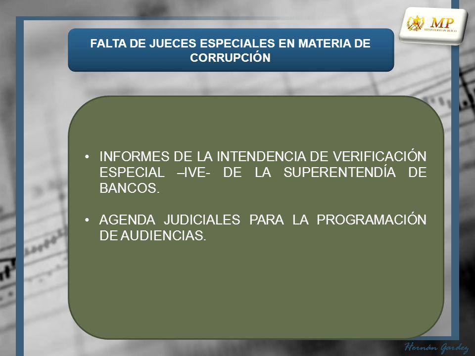 FALTA DE JUECES ESPECIALES EN MATERIA DE CORRUPCIÓN Hernán Gardez INFORMES DE LA INTENDENCIA DE VERIFICACIÓN ESPECIAL –IVE- DE LA SUPERENTENDÍA DE BANCOS.