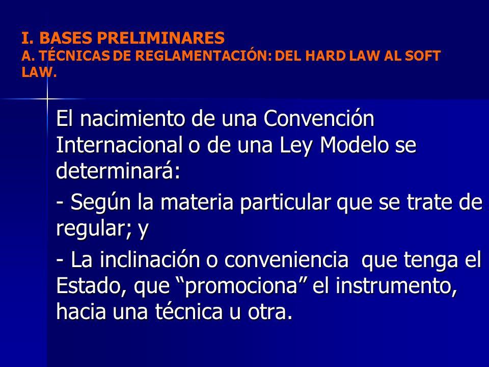 El nacimiento de una Convención Internacional o de una Ley Modelo se determinará: - Según la materia particular que se trate de regular; y - La inclin