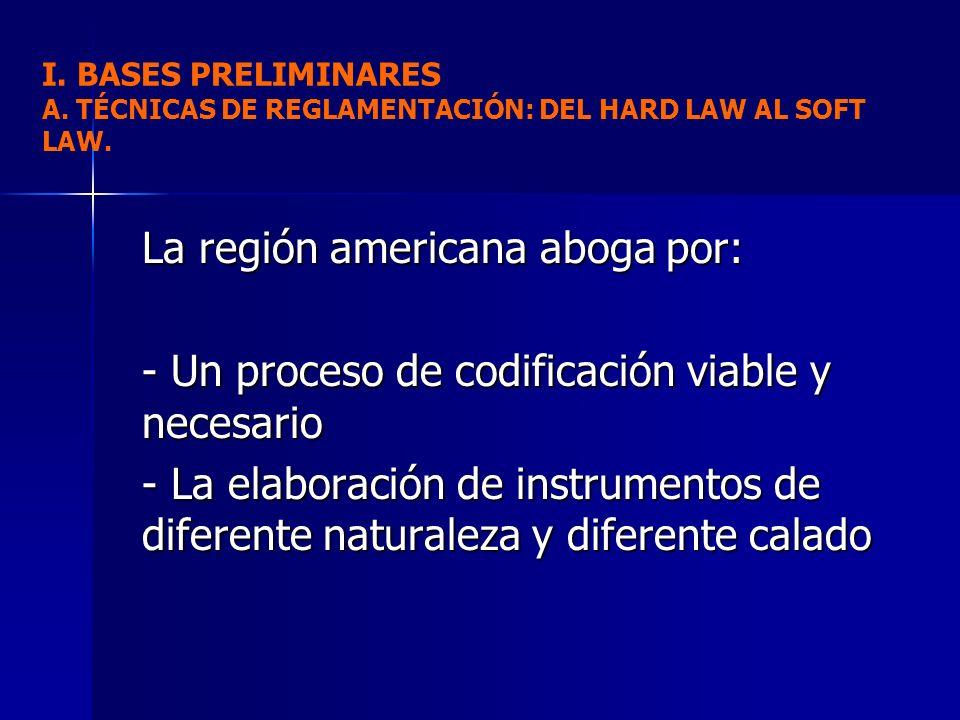 La región americana aboga por: - Un proceso de codificación viable y necesario - La elaboración de instrumentos de diferente naturaleza y diferente ca
