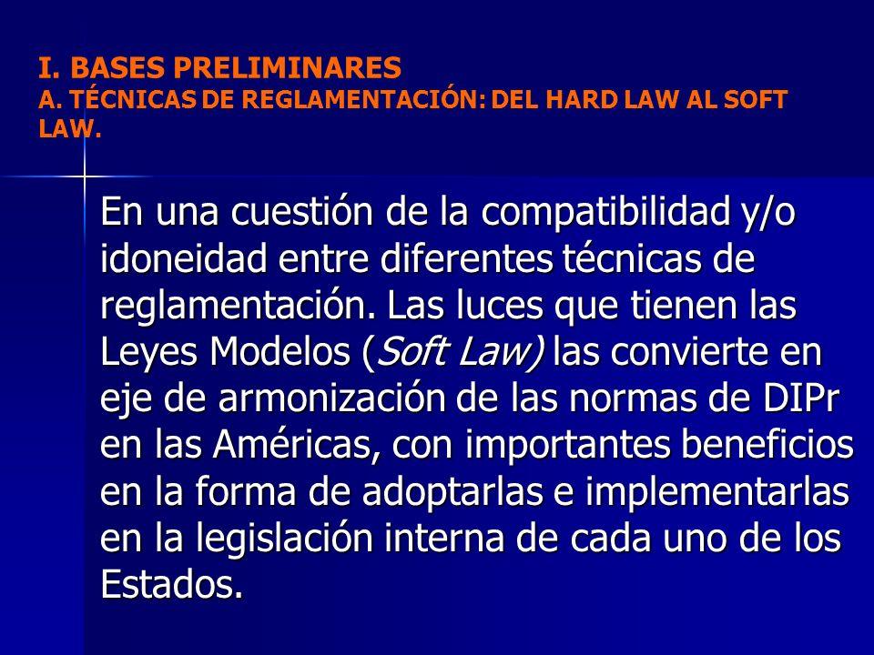En una cuestión de la compatibilidad y/o idoneidad entre diferentes técnicas de reglamentación. Las luces que tienen las Leyes Modelos (Soft Law) las