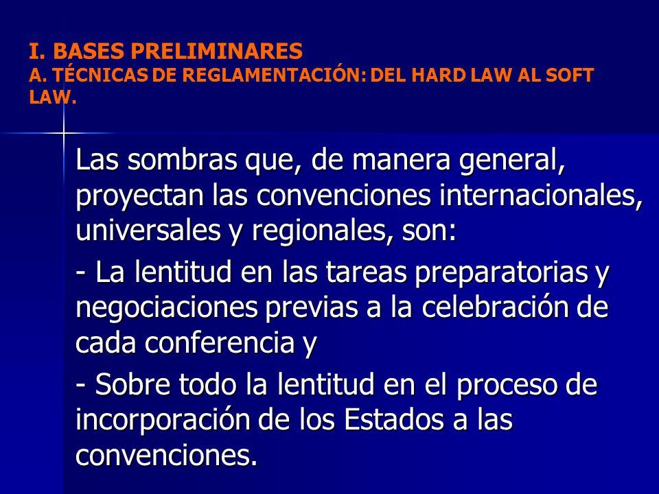 Las sombras que, de manera general, proyectan las convenciones internacionales, universales y regionales, son: - La lentitud en las tareas preparatori