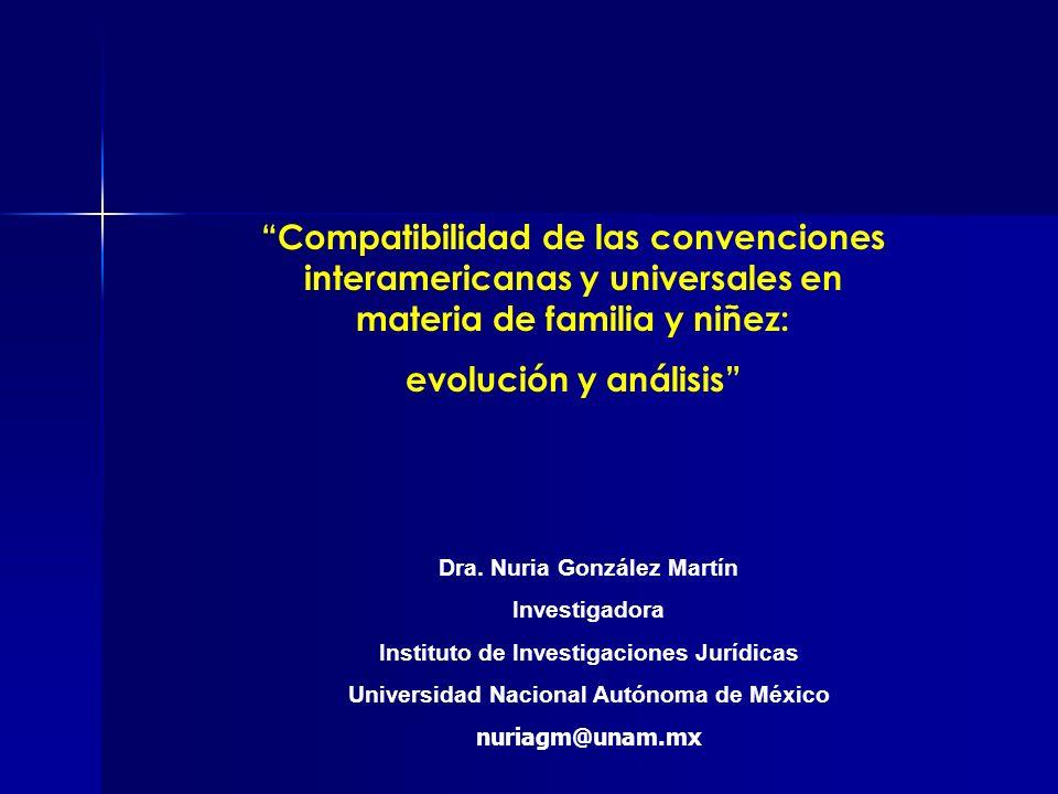 Compatibilidad de las convenciones interamericanas y universales en materia de familia y niñez: evolución y análisis Dra. Nuria González Martín Invest