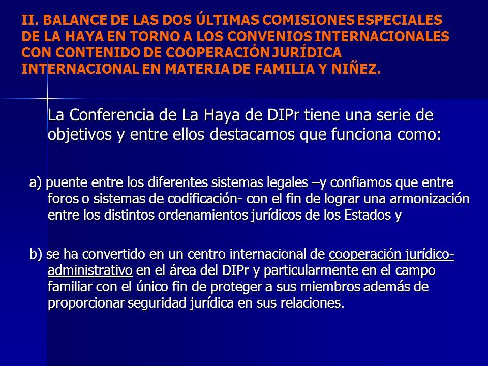 II. BALANCE DE LAS DOS ÚLTIMAS COMISIONES ESPECIALES DE LA HAYA EN TORNO A LOS CONVENIOS INTERNACIONALES CON CONTENIDO DE COOPERACIÓN JURÍDICA INTERNA