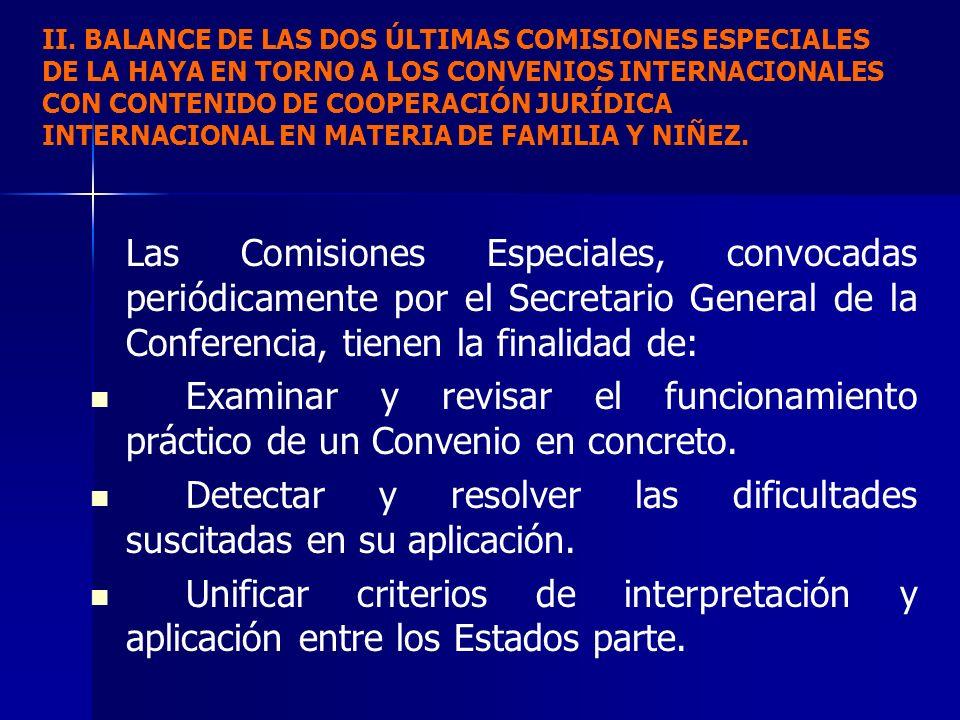 Las Comisiones Especiales, convocadas periódicamente por el Secretario General de la Conferencia, tienen la finalidad de: Examinar y revisar el funcio