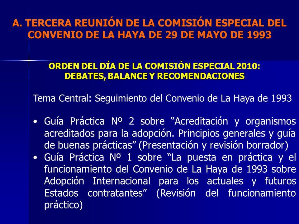 Tema Central: Seguimiento del Convenio de La Haya de 1993 Guía Práctica Nº 2 sobre Acreditación y organismos acreditados para la adopción. Principios