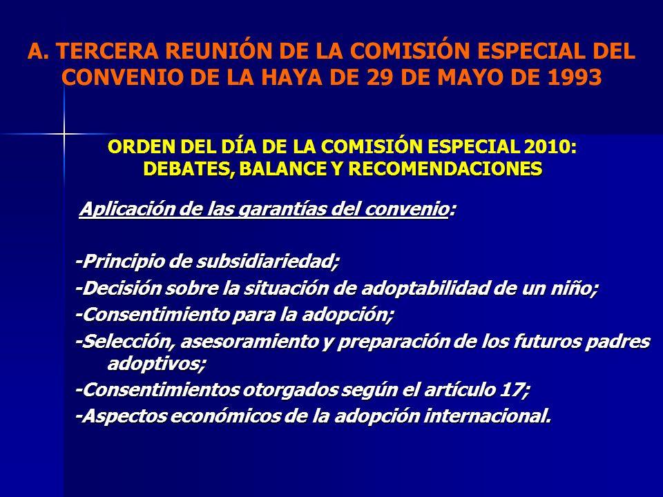 Aplicación de las garantías del convenio: Aplicación de las garantías del convenio: -Principio de subsidiariedad; -Decisión sobre la situación de adop